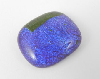 Dichroic Fused Glass Cabochon - Blue and Green - 1684 - 22mm x 26mm