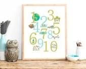 Nature Numbers Wall Art, Digital Download Print, 8x10, 11x14, 16x20, Counting Art Decor, Kid's Room, Gender Neutral Nursery Decor, Playroom
