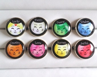 Friendly Cats with Positive Affirmations Adjustable Rings - Choose from 8 Designs