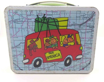 Vintage See America Travel Tin Lunch Box by Ohio Art