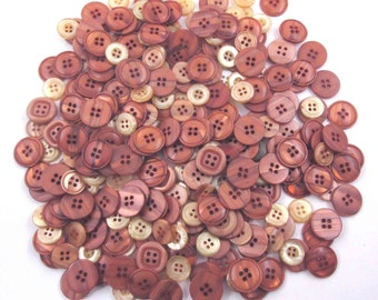 Large Lot of 280 Beautiful Vintage Assorted Rust and Beige Mauve Buttons