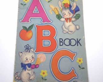 Vintage 1940s Over Sized Children's Textured ABC Picture Book by Whitman