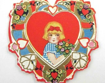 Vintage Fancy Antique Whitney Made Valentine Greeting Card with Little Girl Holding Flowers Gold Gilded