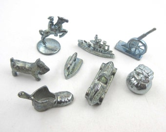 Vintage Pewter Monopoly Game Pieces Set of 8