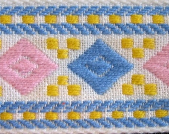 3 yards Diamond Jacquard trim in pink, blue and yellow on white. V64-A