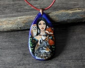 RESERVED for SHARON Bohemian in the wood - fused glass pendant -  wolf necklace - woodland animals jewelry