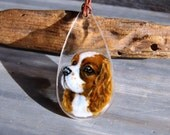 Cavalier king Charles dog  necklace- fused glass pendant - dog jewelry- puppy