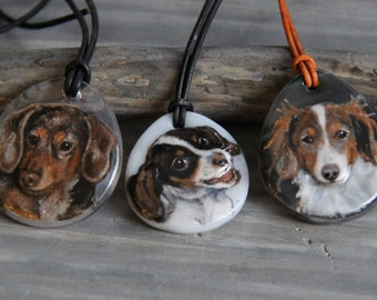 Custom necklace - fused glass pendant - dog jewelry- puppy