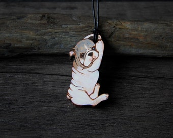 Puppy leather pendant - by Fanny Dallaire -  leather work