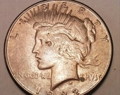 Valentines Day Sale 1922 Peace Silver Dollar Coin, Silver Money, Numismatic, Collectible coins, Precious Metal, Rare Money Lot J-3