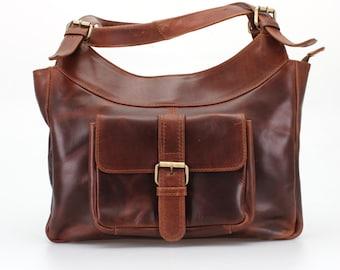 Leather Handbag Purse in Vintage Brown