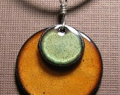 SALE Copper Enamel Jewelry Olive Green and  Persimmon Orange disc necklace The Prairie Collection