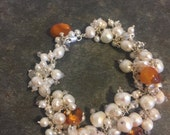 Pearl, Sterling & amber wedding bracelet