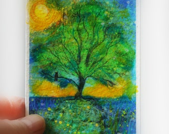 Firefly summer night, ACEO original, signed, Fine Art altered photograph, with painting, drawing added, miniature art, tree art
