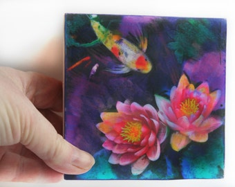 Summer Koi, 4x4 inches, art, purple art, gifts under 30, Koi art, miniature art, original, unique gifts, pond, fish pond