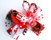 boutique ULTIMATE VALENTINE'S DAY funky fun bow on clip or headband