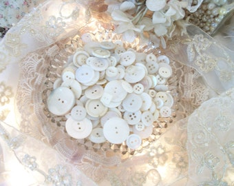 buttons! vintage & antique buttons, pretty shades of cream,  vintage supply, rich creamy colors of white, texture, shapes, over 275 buttons