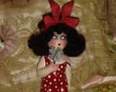 Reserved for CC2 #1 Vintage Composition Doll Upcycled Brunette Bob Flapper