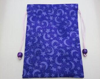 "Purple Moon and Stars Tarot Bag, Fully lined in Silk, Handmade Tarot Pouch 5"" x 7"", 5 x 7"