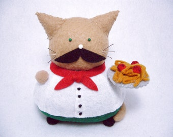 Cute Felt pincushion cat, Italian cat, Spaghetti and meatballs cat, Cat lover, Italian decor, Gifts for Italian, Cat with mustache, MTO