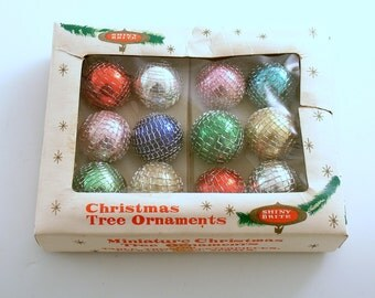Vintage Christmas Ornaments Glass Ornaments Feather Tree Netted