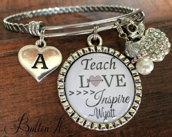 TEACHER gift, Teacher appreciation, end of year gift, Thank you for helping me grow, INITIAL jewelry, Daycare babysitter gift