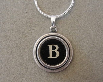 Typewriter key Jewelry Necklace BLACK  LETTER  B - Typewriter Key Necklace - Initial B serif font Initial Necklace B