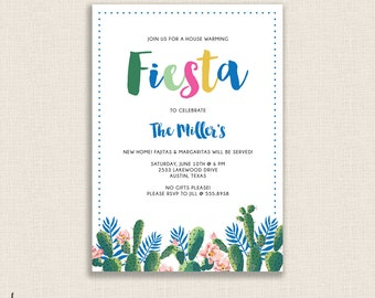 FIESTA HOUSEWARMING - DIY Printable Party Invitation - Modern Calligraphy Colorful - Cactus, Succulent Blue Floral