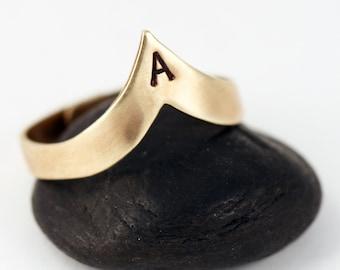 Chevron Initial Ring  - Adjustable Ring