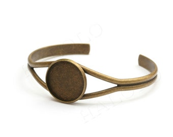 1 piece of antique bronze finish bangle, fit for 20mm round cab (D072)
