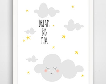 Custom Dream Big Cloud - Cloud Wall Art - Cloud Nursery Decor