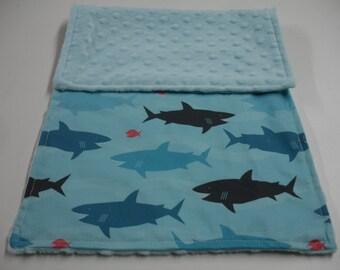 Sharks Baby Burp Cloth with Minky   10 x 20 READY TO SHIP