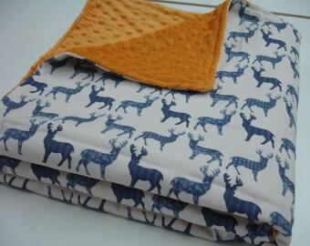 Navy Meadow Deer on Ivory with Pumpkin Orange Minky Minky Blanket 41 x 57 READY TO SHIP