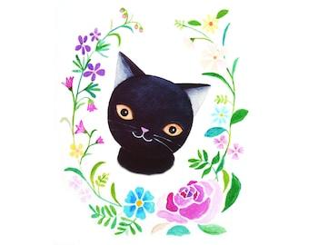 Black Cat Nursery Art Print Black Cat Illustration Print Cat Print Cat Wall Art Floral Home