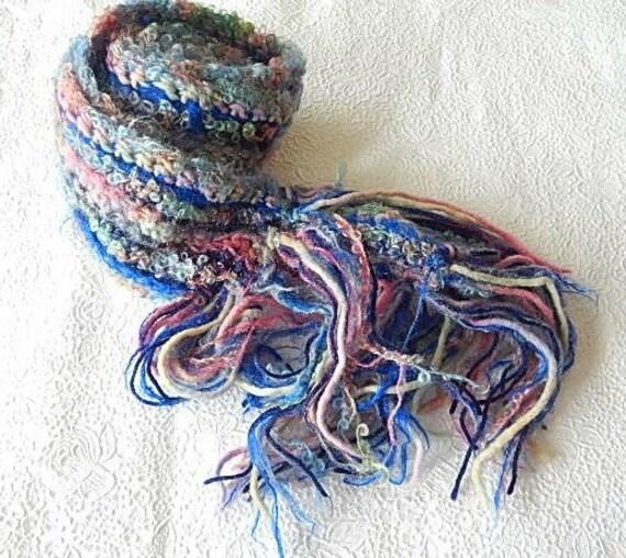 Blue/pink scarf, fringed scarf, chunky scarf, winter scarf, wool scarf, women accessory, long scarf