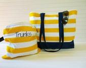 Striped Beach Bag - Large Beach Bag Wet Bag Combo - Yellow Stripe Beach Bag - Bikini Wet Bag - Interior Pocket