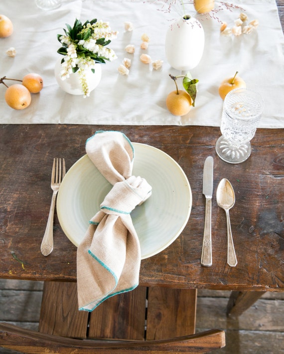 Natural 100% Linen Blue Ombre Cloth Napkins, set of four