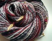 Handspun Art Yarn - WITH DROOPING WINGS - Opera Inspired, Dido & Aeneas, Purcell. Dark Red, Gray, Black. Angel Wings, Roses. 250 yds, 4.6 oz