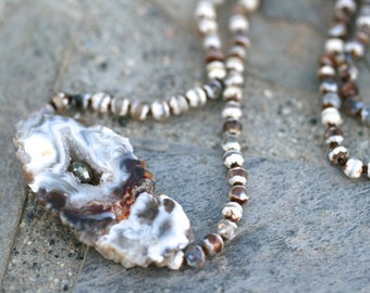 Brown and White Faceted Agate Gemstone, Druzy Crystal Agate Slice Pendant, Hand Knotted Silk Cord Necklace, Boho Jewelry