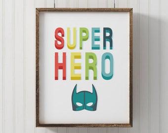 Superhero Mask Wall Art, Batman Room Decor, Typographic Prints For  Superhero Baby Room Theme Part 91