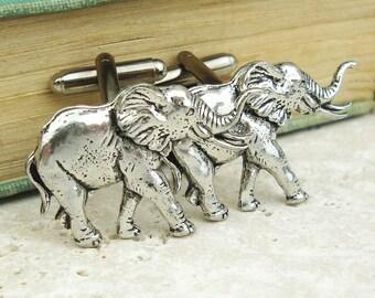 Elephants Cufflinks, Antiqued Silver Pewter Cufflinks