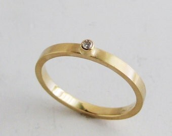 Small diamond ring|2mm gold band with bezel set diamond|recycled diamond ring|thin gold ring|recycled 14k brushed gold + diamond ring