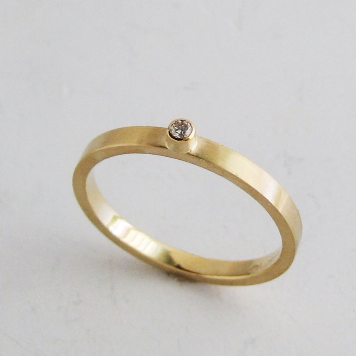 Small Diamond Ring2mm Gold Band With Bezel Set Diamondrecycled Diamond  Ring