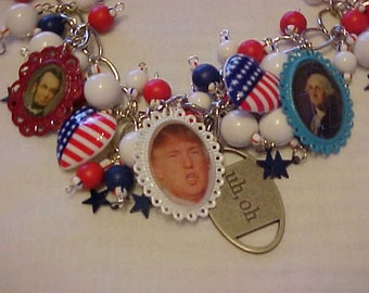 POLITICAL HUMOR~TRUMP for President??Humorous Necklace~~Political Satyr~~Photo Charms~Presidents~Red~White~Blue Beads~Democrats~Republicans