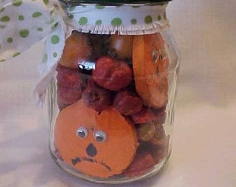 CReePY SALe~~was 19.95~~Now 4.00~Canned PUMPKINS~Sliced Pumpkins in a JAR~WOODEN Pumpkin Slices in Glass Jar~Halloween~Anytime~Hand Painted