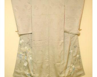 Frozen Morning - Antique Japanese Silk Kimono Semi Formal Uncrested Irotomesode Women Silk