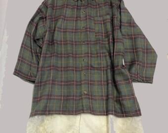 Plaid flannel tunic shirt/dress with petticoat lace Under slip XXL