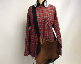 Red Tartan Plaid shirt/tunic with BEAded Collar XL