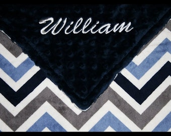 Chevron Blanket~Baby Boy Blanket~Personalized Boy's Blanket~Nursery~Crib Bedding~Lovey~Shower Gift~