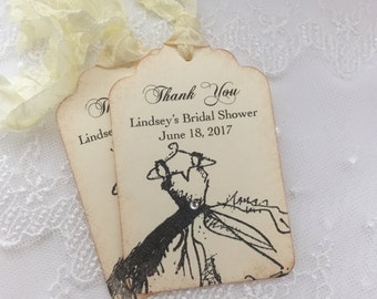 Bridal Shower Thank You Tags Favor Tags Black and Ivory
